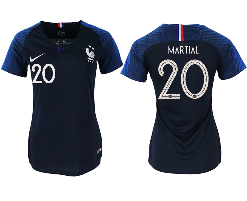France 20 MARTIAL Home Women 2018 FIFA World Cup Soccer Jersey