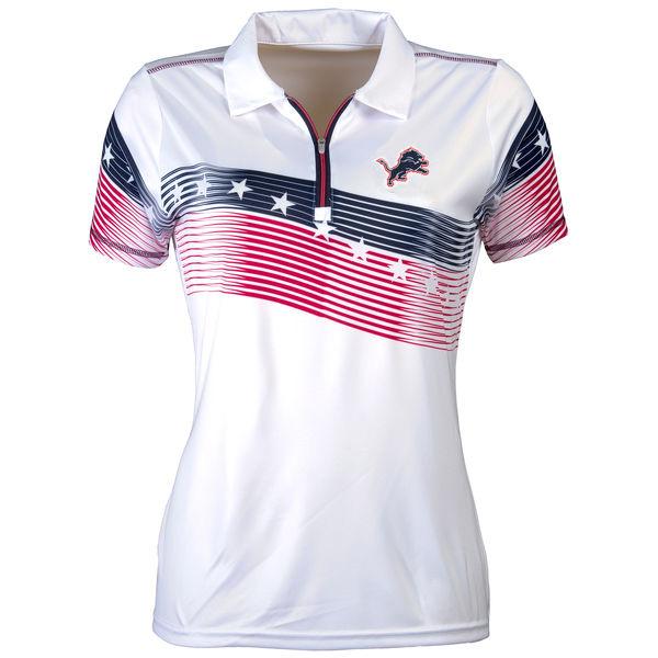 Women's Antigua Detroit Lions White Patriot Polo