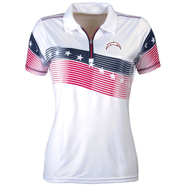 Women's Antigua Los Angeles Chargers White Patriot Polo