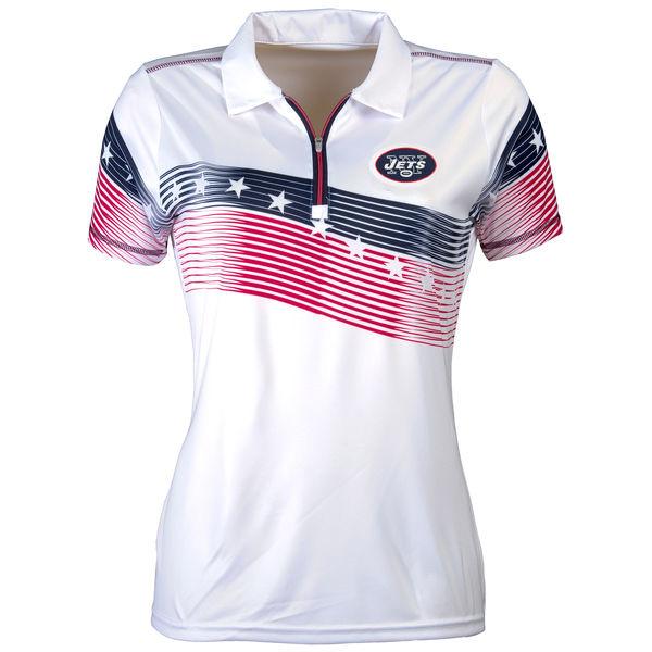 Women's Antigua New York Jets White Patriot Polo