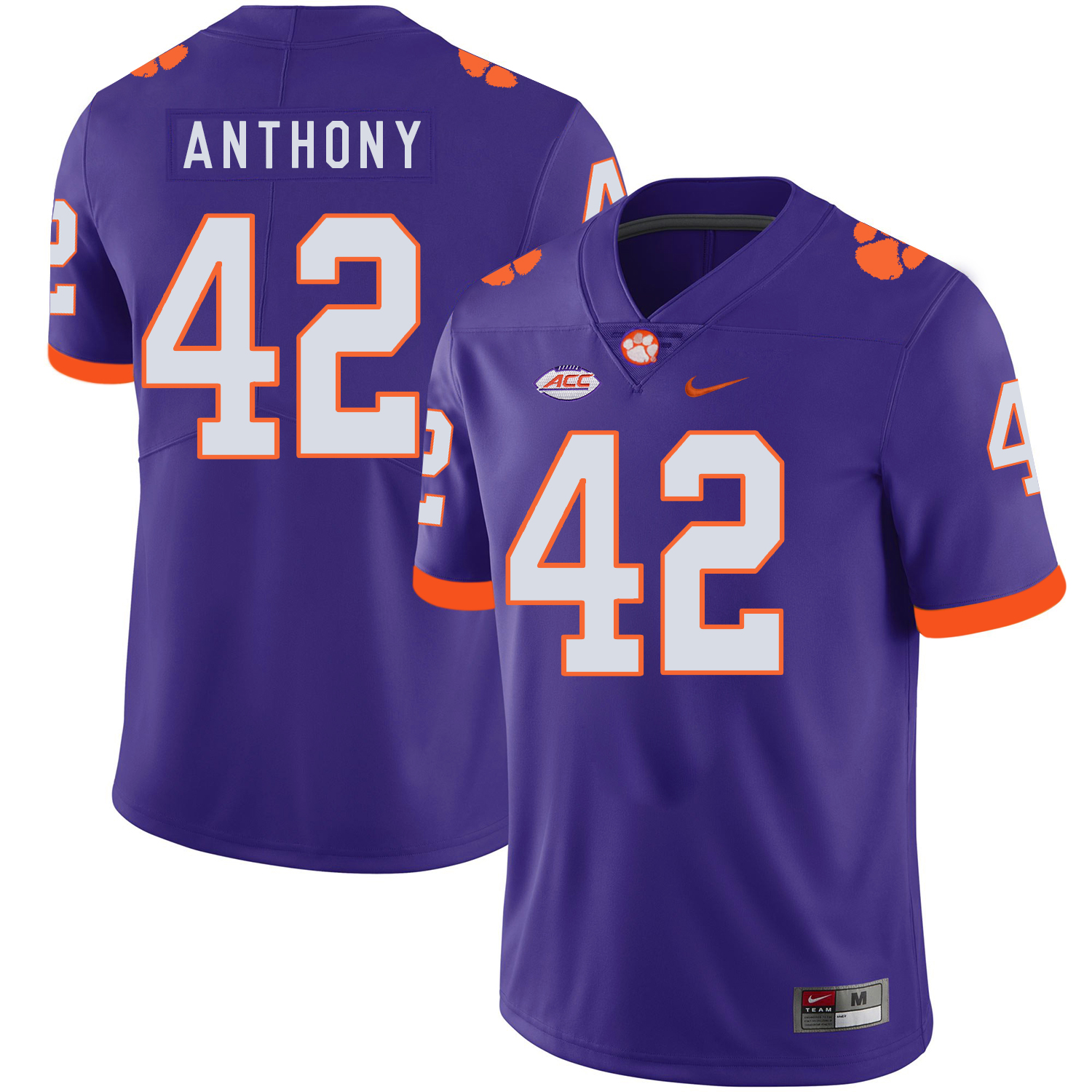 Clemson Tigers 42 Stephone Anthony Purple Nike College Football Jersey