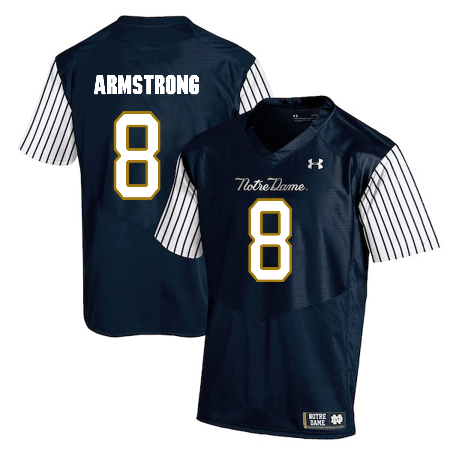 Notre Dame Fighting Irish 8 Jafar Armstrong Navy College Football Jersey
