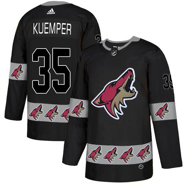 Coyotes 35 Darcy Kuemper Black Team Logos Fashion Adidas Jersey