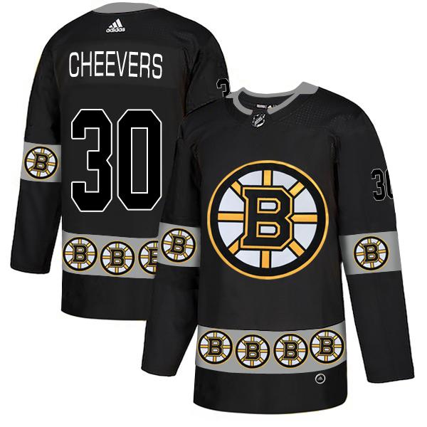 Bruins 30 Gerry Cheevers Black Team Logos Fashion Adidas Jersey