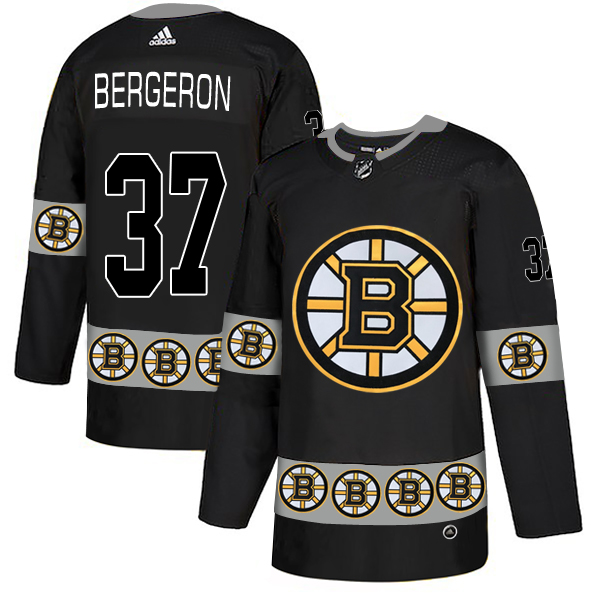 Bruins 37 Patrice Bergeron Black Team Logos Fashion Adidas Jersey