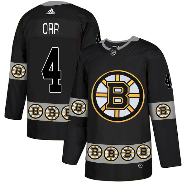 Bruins 4 Bobby Orr Black Team Logos Fashion Adidas Jersey