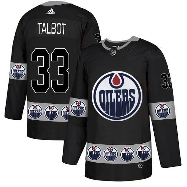 Oilers 33 Cam Talbot Black Team Logos Fashion Adidas Jersey