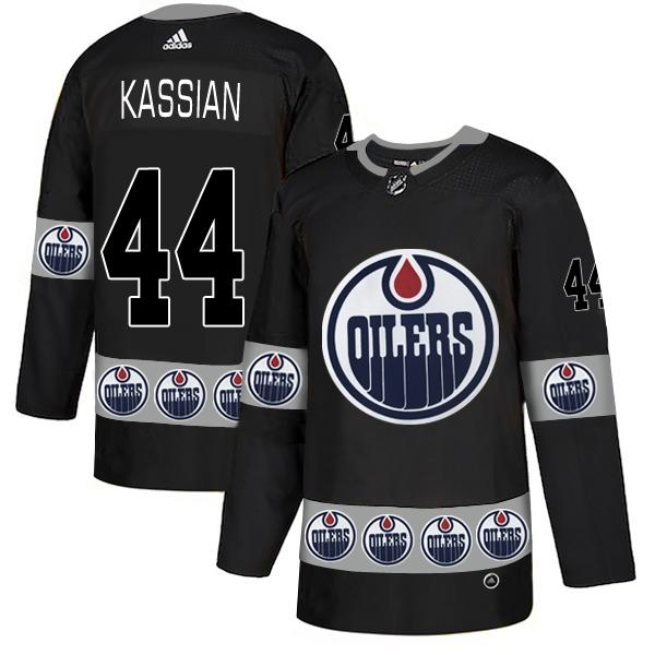 Oilers 44 Zack Kassian Black Team Logos Fashion Adidas Jersey