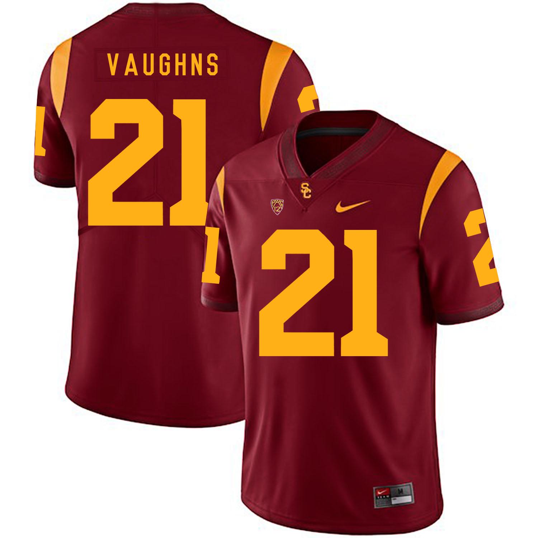USC Trojans 21 Tyler Vaughns II Red College Football Jersey