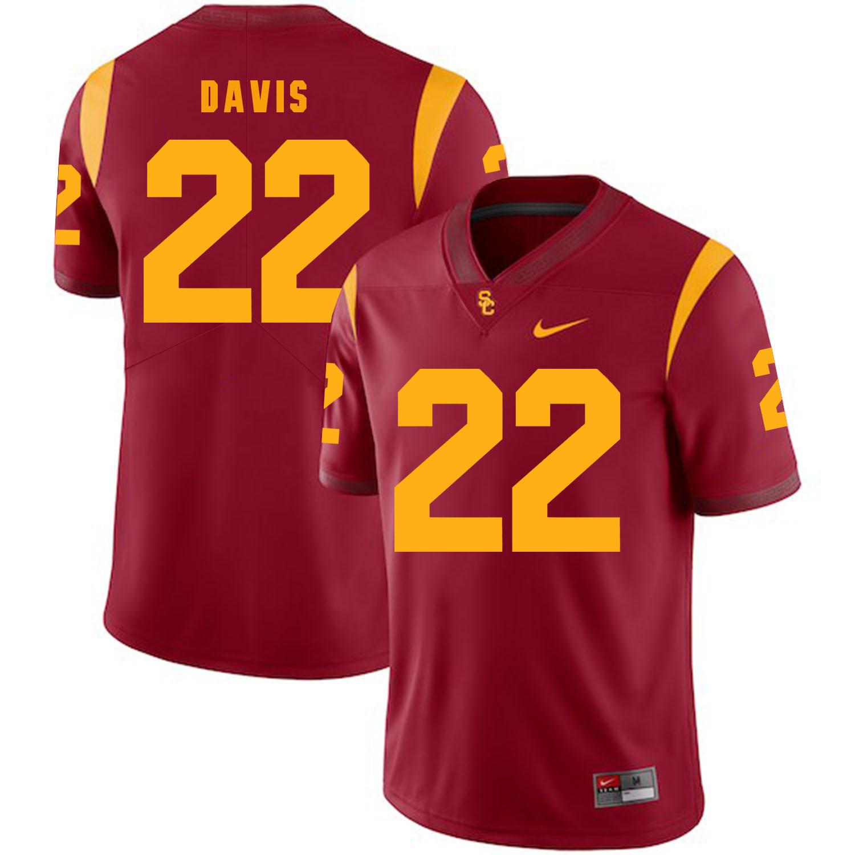 USC Trojans 22 Justin Davis Red College Football Jersey