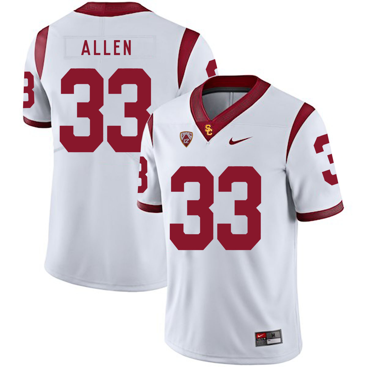 USC Trojans 33 Marcus Allen White College Football Jersey