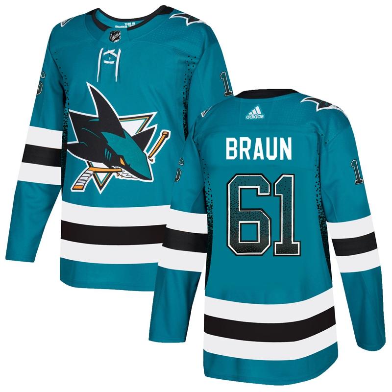 Sharks 61 Justin Braun Teal Drift Fashion Adidas Jersey