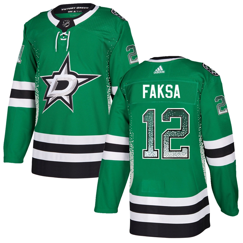 Stars 12 Radek Faksa Green Drift Fashion Adidas Jersey