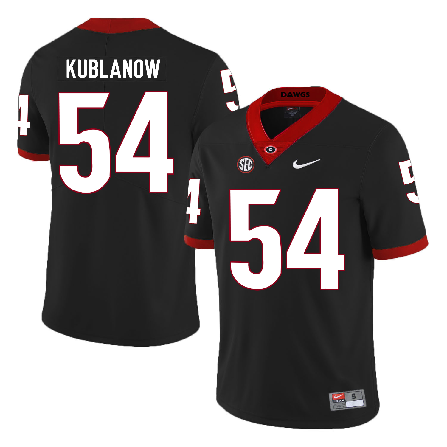 Georgia Bulldogs 54 Brandon Kublanow Black Nike College Football Jersey