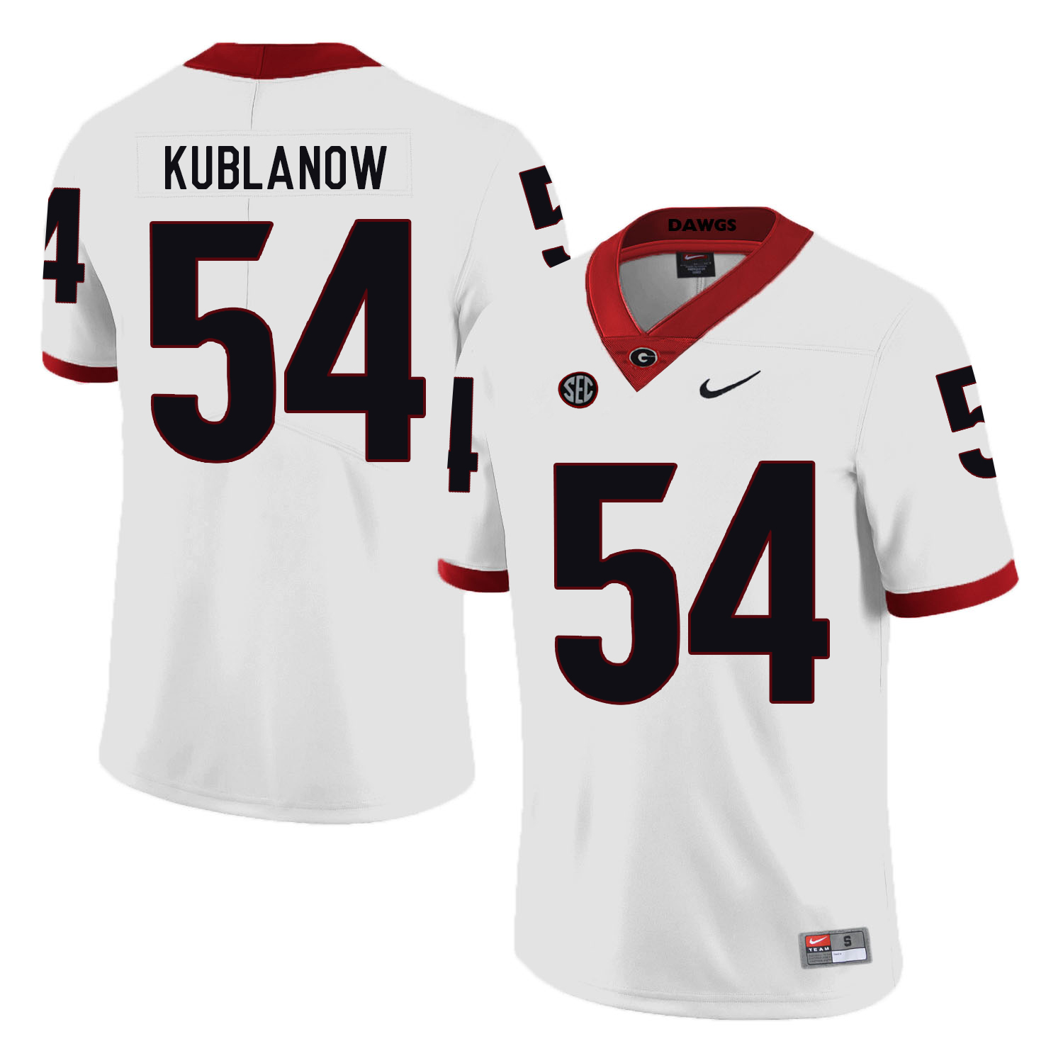 Georgia Bulldogs 54 Brandon Kublanow White Nike College Football Jersey
