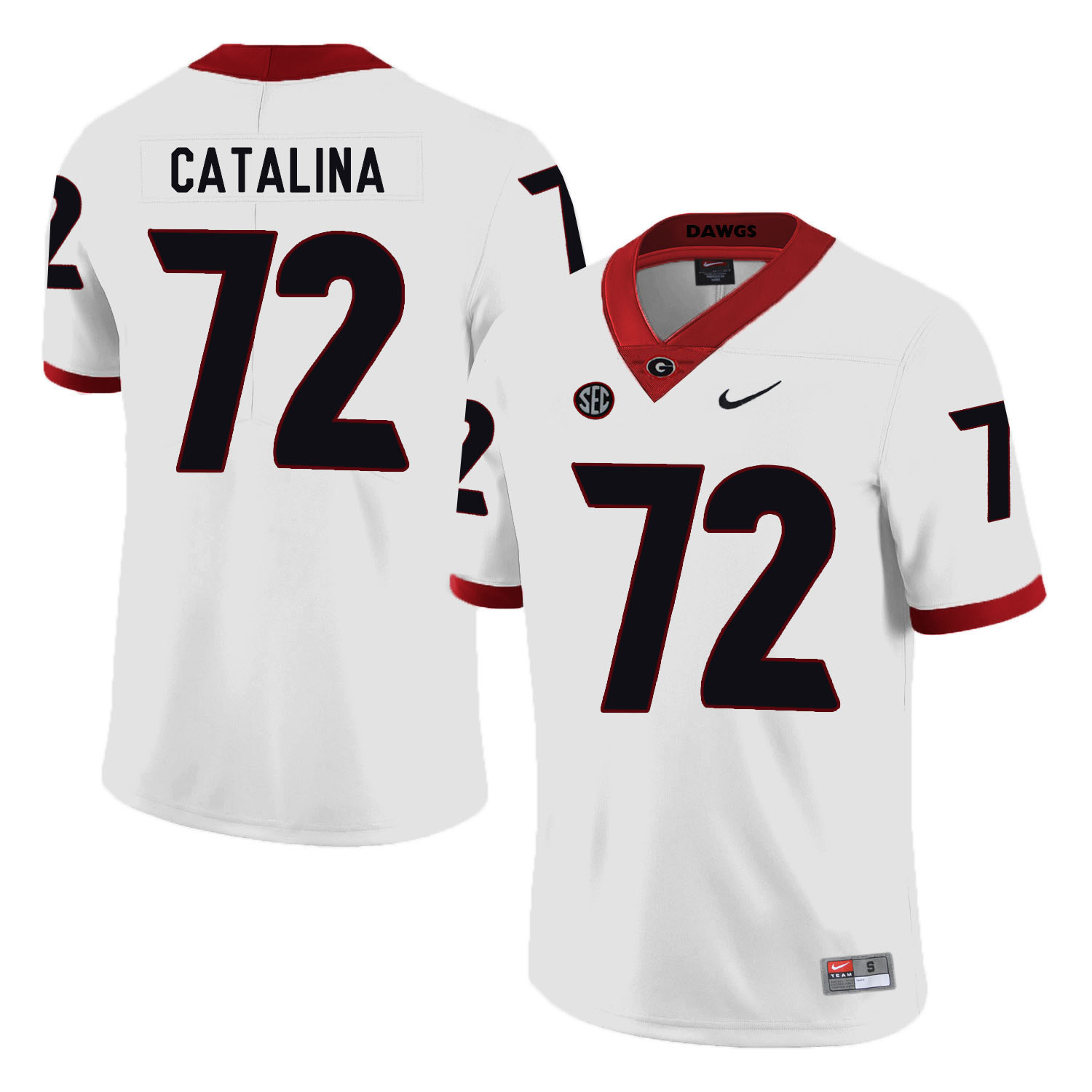 Georgia Bulldogs 72 Tyler Catalina White Nike College Football Jersey