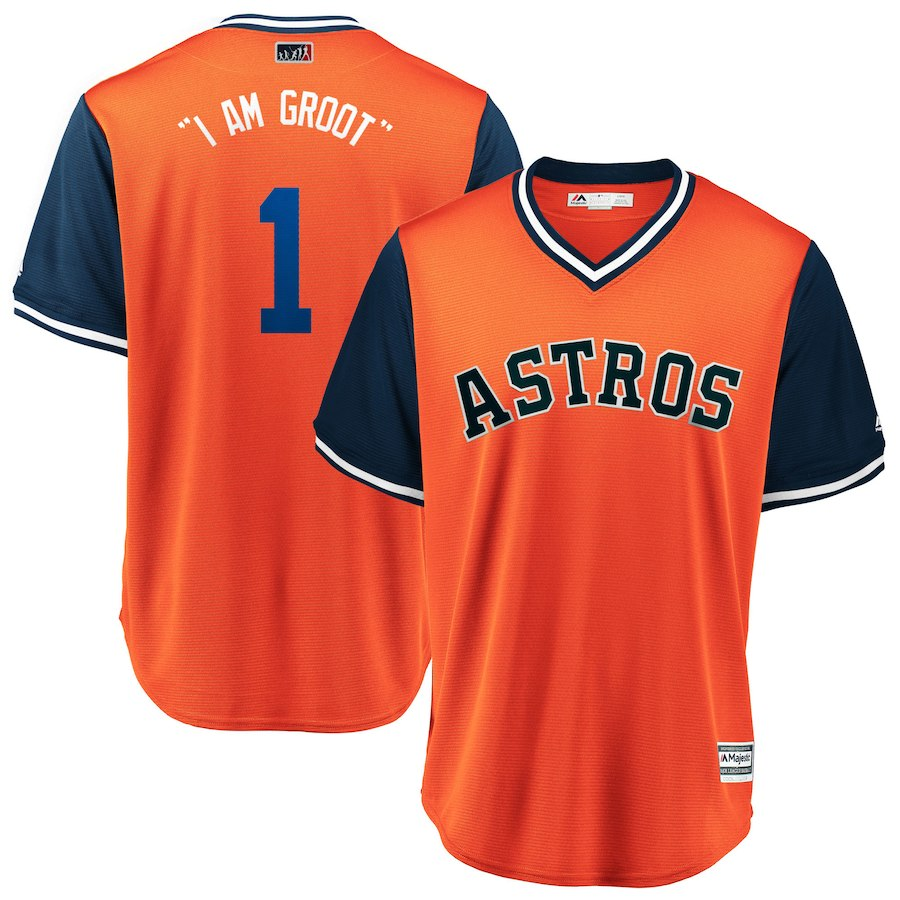 Astros 1 Carlos Correa I Am Groot Orange 2018 Players' Weekend Cool Base Jersey