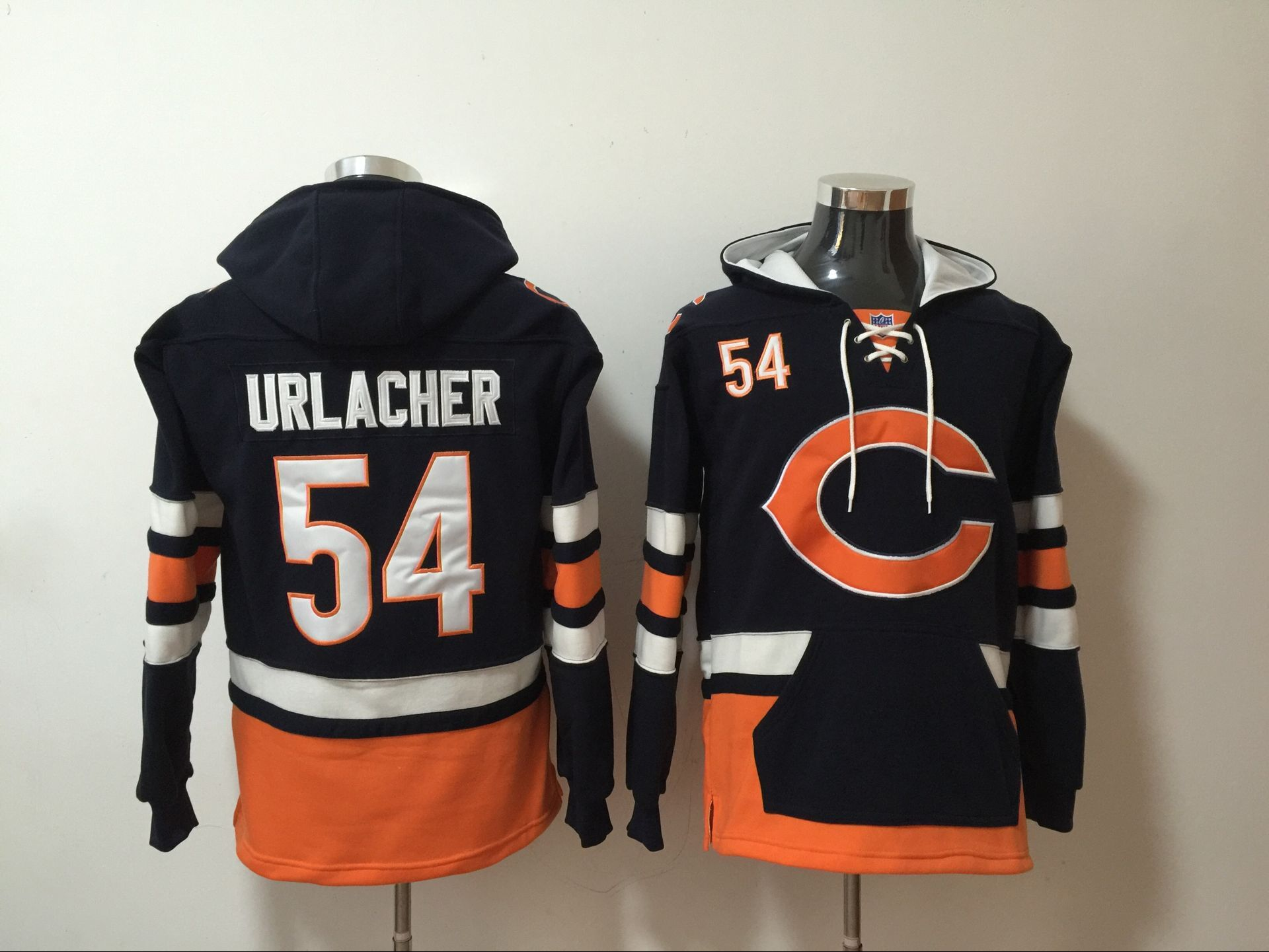 Bears 54 Brian Urlacher Navy All Stitched Hooded Sweatshirt