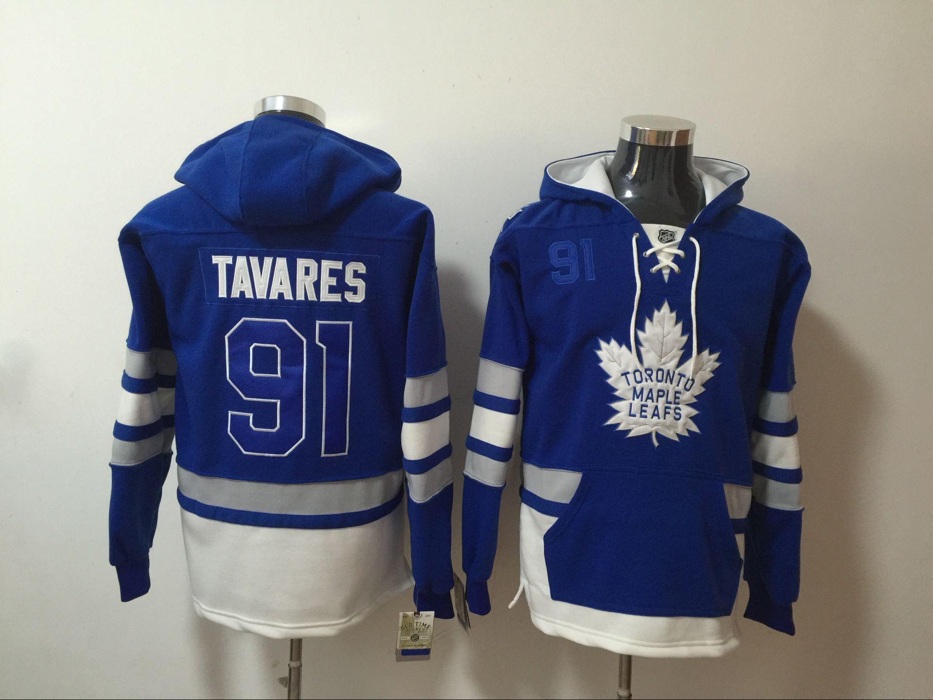 Maple Leafs 91 John Tavares Blue All Stitched Hooded Sweatshirt
