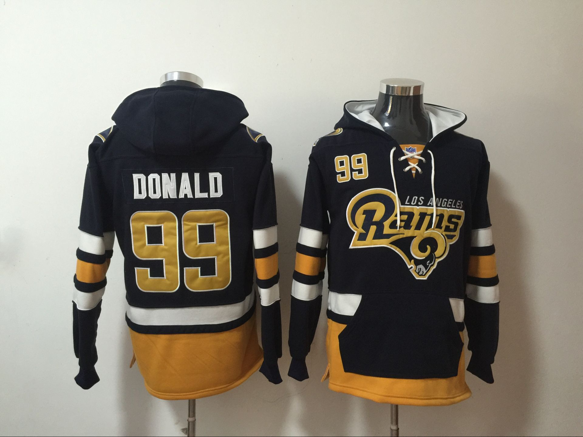 Rams 99 Aaron Donald Navy All Stitched Hooded Sweatshirt