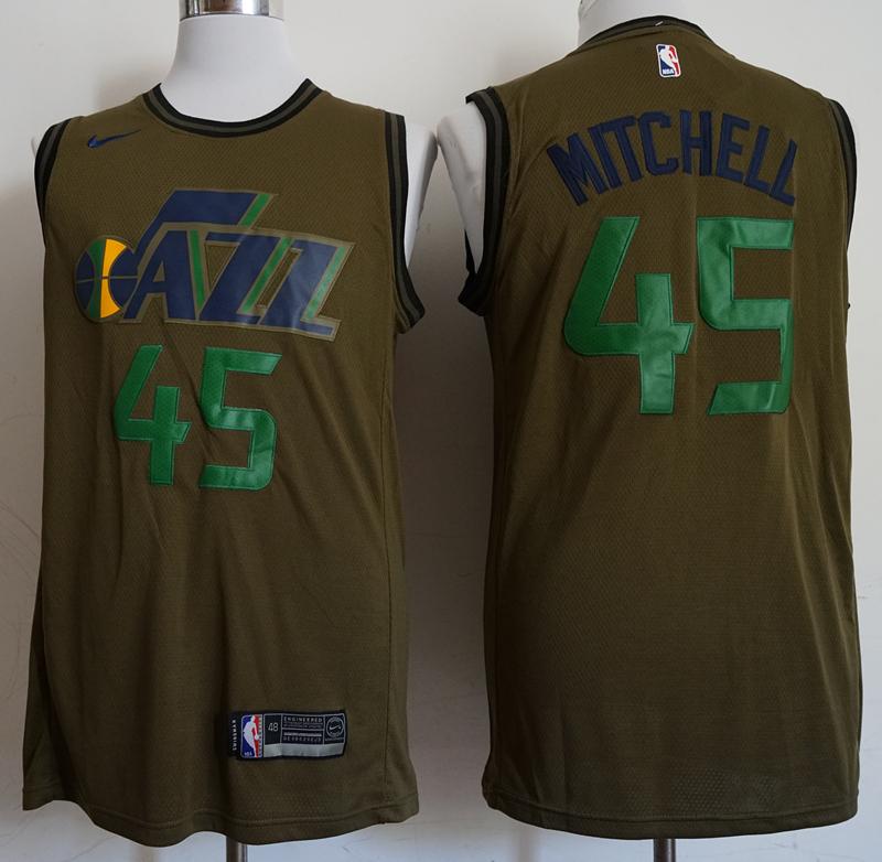 Jazz 45 Donovan Mitchell Olive Nike Swingman Jersey