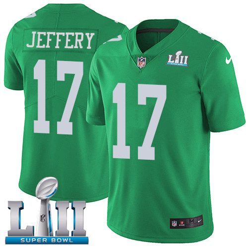 Nike Eagles 17 Alshon Jeffery Green 2018 Super Bowl LII Youth Corlor Rush Limited Jersey