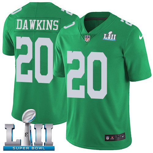 Nike Eagles 20 Brian Dawkins Green 2018 Super Bowl LII Youth Corlor Rush Limited Jersey