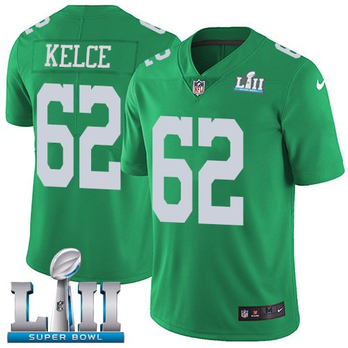 Nike Eagles 62 Jason Kelce Green 2018 Super Bowl LII Youth Corlor Rush Limited Jersey