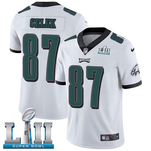 Nike Eagles 87 Brent Celek White 2018 Super Bowl LII Youth Vapor Untouchable Limited Jersey