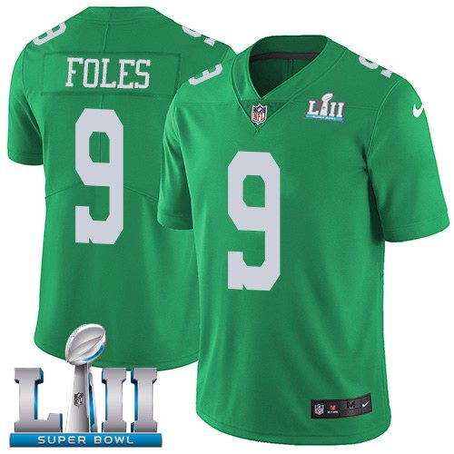Nike Eagles 9 Nick Foles Green 2018 Super Bowl LII Youth Corlor Rush Limited Jersey