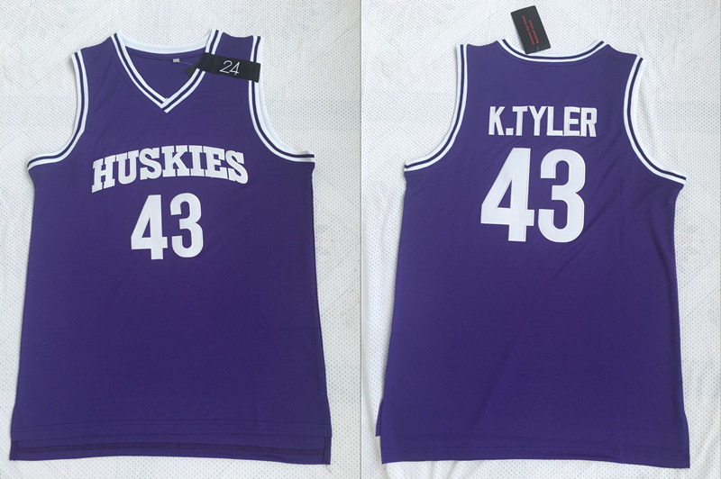 Huskies The 6th Marlon Wayans 43 Kenny Tyler Purple Stitched Movie Basketball Jersey