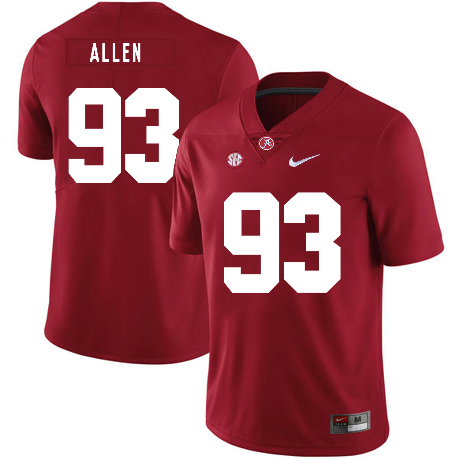 Alabama Crimson Tide 93 Jonathan Allen Red Nike College Football Jersey