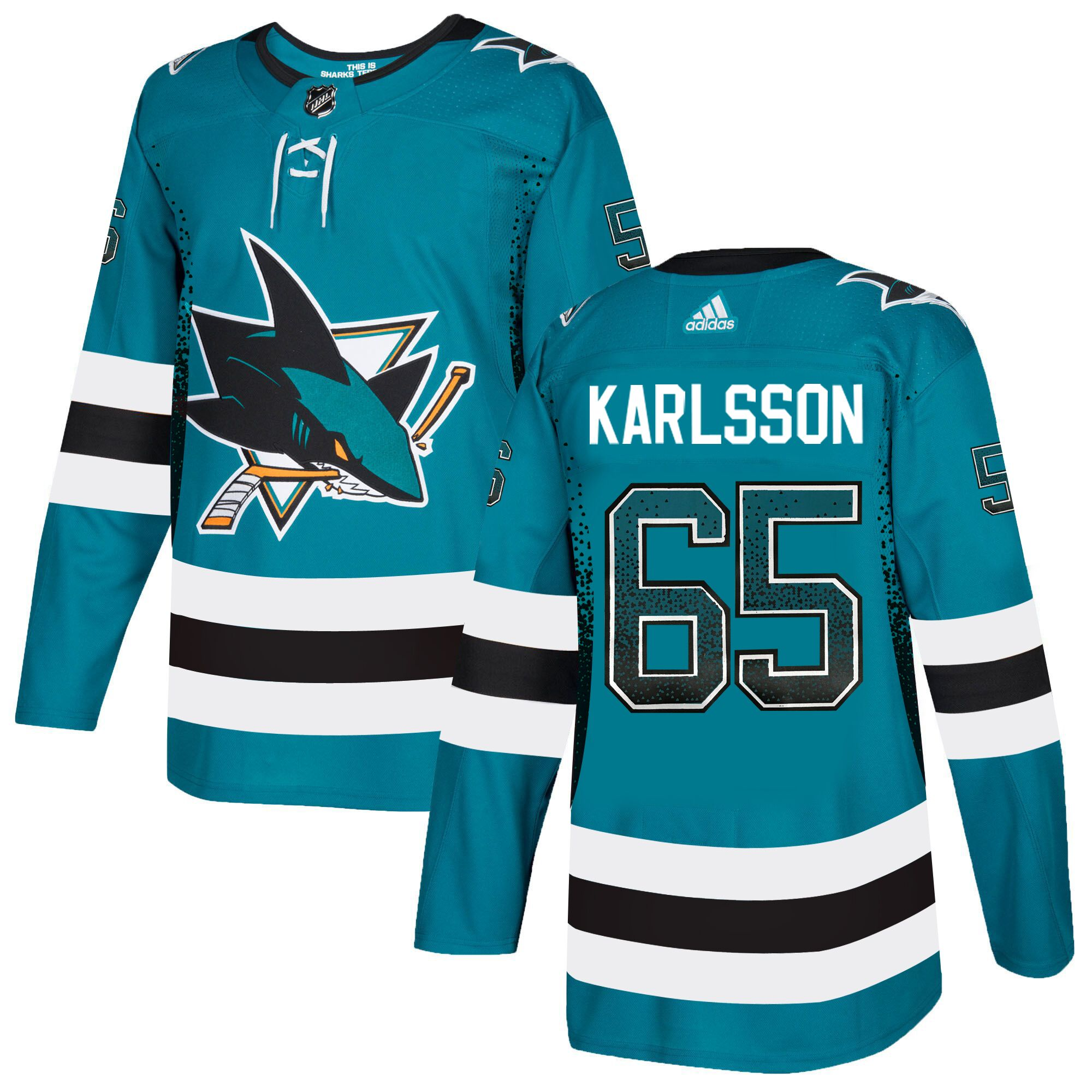 Sharks 65 Erik Karlsson Teal Drift Fashion Adidas Jersey