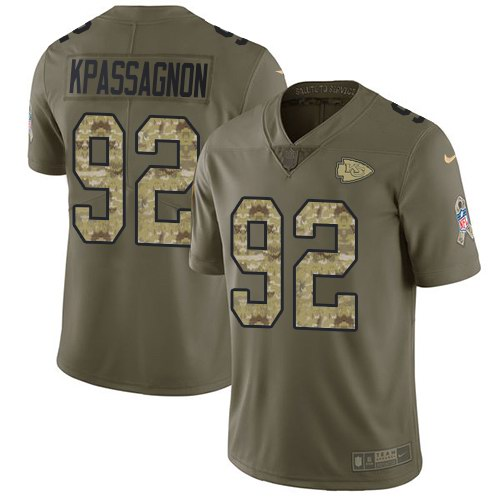 Nike Chiefs 92 Tanoh Kpassagnon Olive Camo Salute To Service Limited Jersey