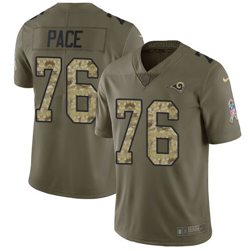 Nike Rams 76 Orlando Pace Olive Camo Salute To Service Limited Jersey