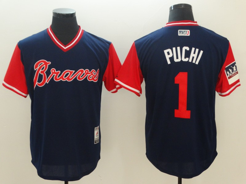 Braves 1 Ozzie Albies Puchi Navy 2018 Players' Weekend Authentic Team Jersey