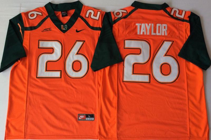 Miami Hurricanes 26 Sean Taylor Orange Nike College Football Jersey