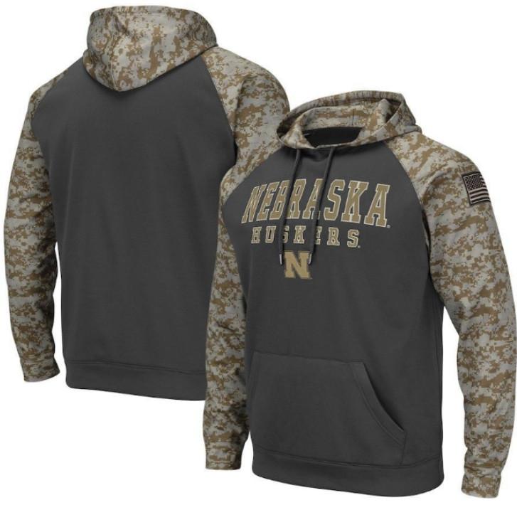 Nebraska Cornhuskers Gray Camo Men's Pullover Hoodie