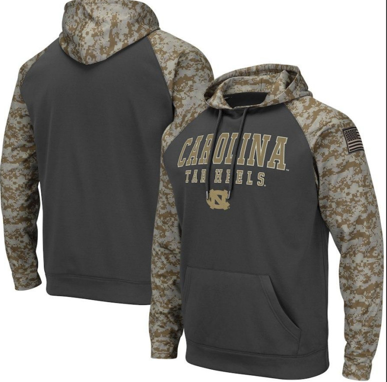 North Carolina Tar Heels Gray Camo Men's Pullover Hoodie