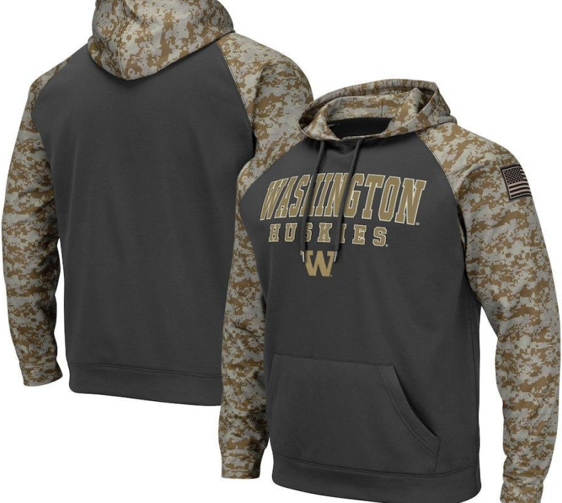 Washington Huskies Gray Camo Men's Pullover Hoodie