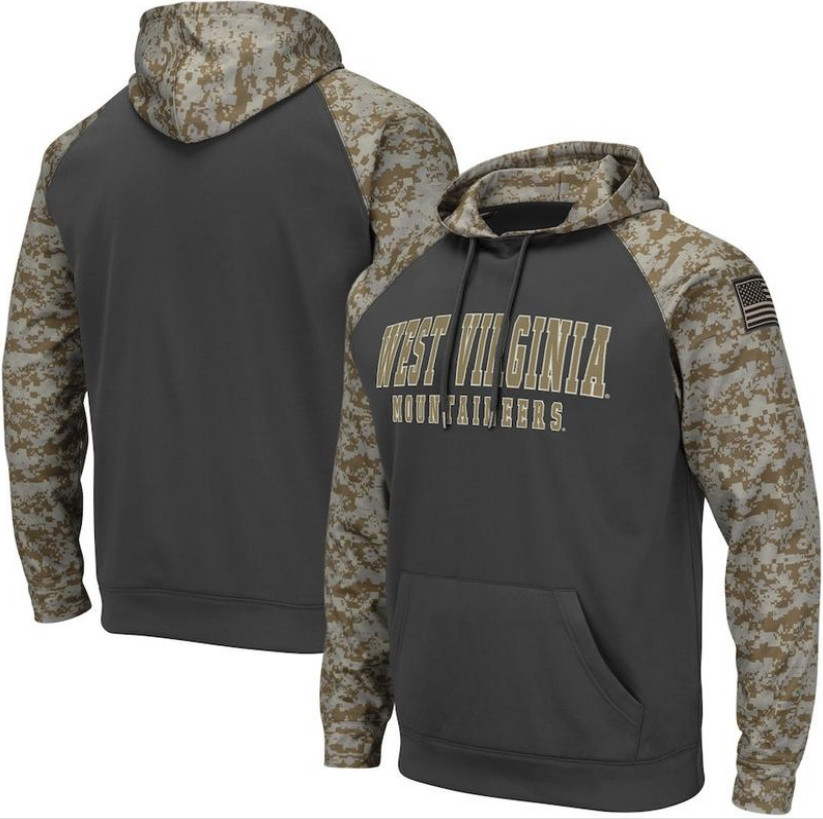 West Virginia Mountaineers Gray Camo Men's Pullover Hoodie