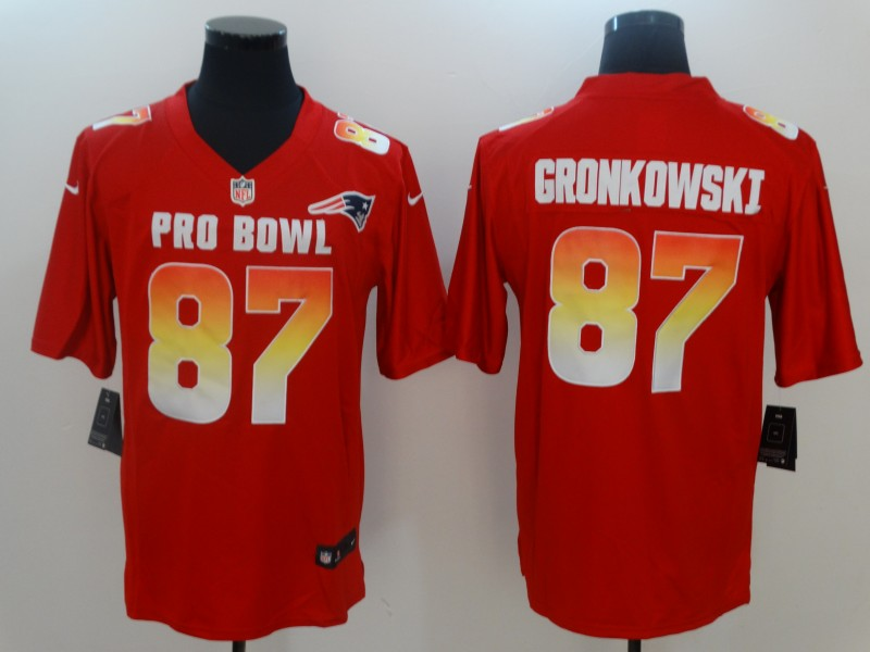 Nike AFC Patriots 87 Rob Gronkowski Red 2019 Pro Bowl Game Jersey