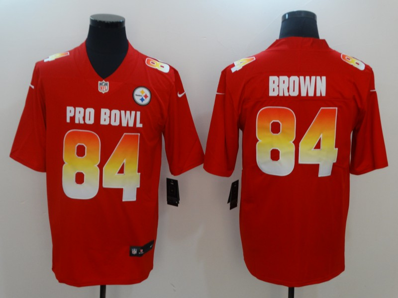 Nike AFC Steelers 84 Antonio Brown Red 2019 Pro Bowl Game Jersey