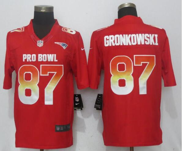 Nike AFC Patriots 87 Rob Gronkowski Red 2019 Pro Bowl Limited Jersey