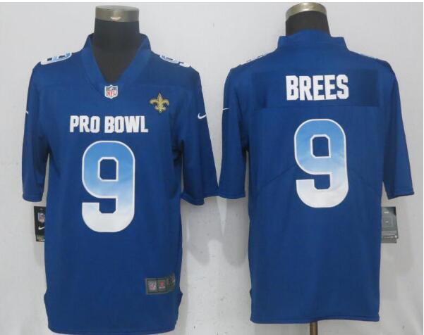 Nike NFC Saints 9 Drew Brees Royal 2019 Pro Bowl Limited Jersey