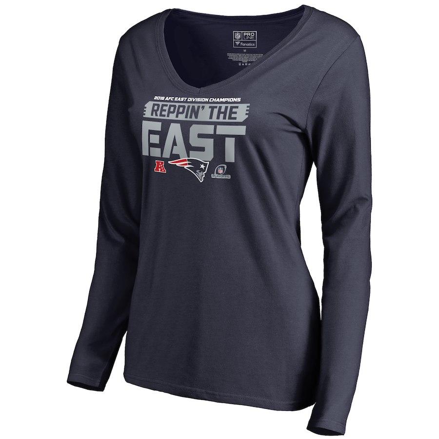Patriots Navy Women's Long Sleeve 2018 NFL Playoffs Reppin' The East T-Shirt
