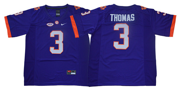 Clemson Tigers 3 Xavier Thomas Purple College Football Jersey