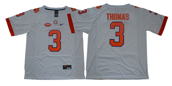 Clemson Tigers 3 Xavier Thomas White College Football Jersey