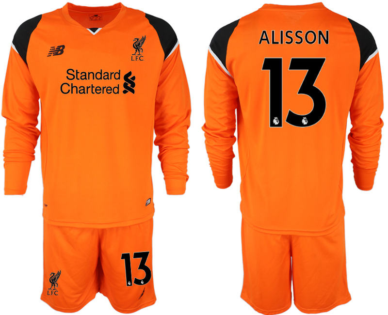 2018-19 Liverpool 13 ALISSON Orange Long Sleeve Goalkeeper Soccer Jersey