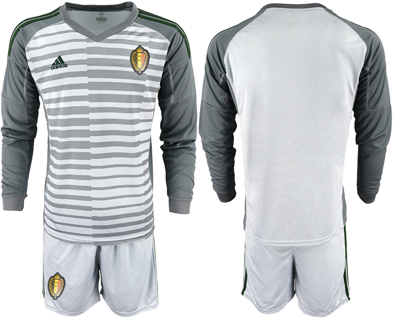 Belgium Gray 2018 FIFA World Cup Long Sleeve Goalkeeper Soccer Jersey